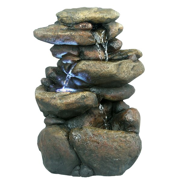 Fiberglass 3 Tier Rock Fountain with LED Light by Woodland Imports