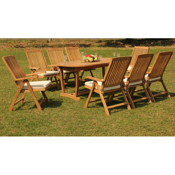 Scotland 9 Piece Teak Dining Set by Rosecliff Heights