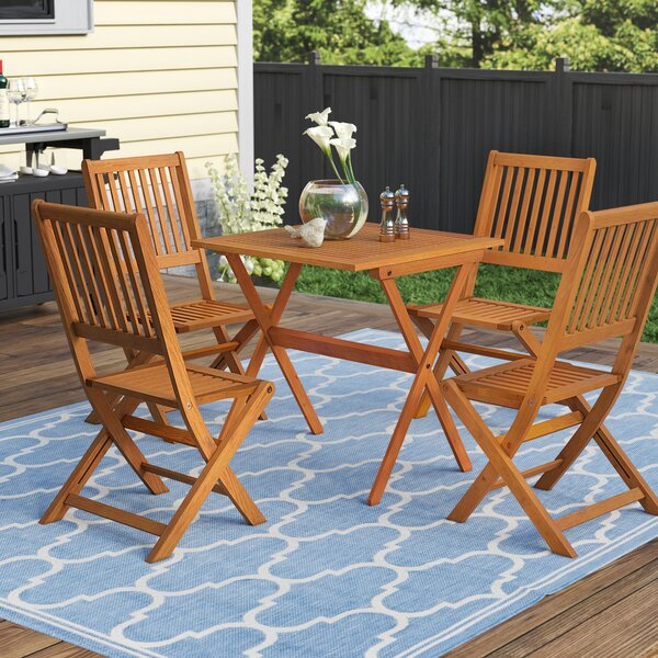 Cadsden 5 Piece Folding Bistro Dining Set by Three Posts
