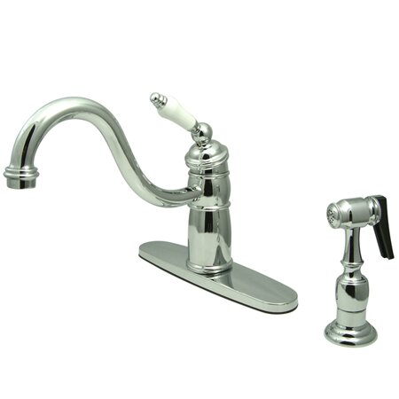 Victorian Single Handle Kitchen Faucet with Brass Spray by Kingston Brass
