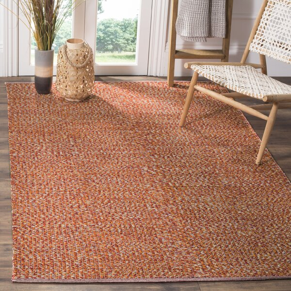 Figuig Hand-Woven Cotton Orange/Red Area Rug by Bungalow Rose