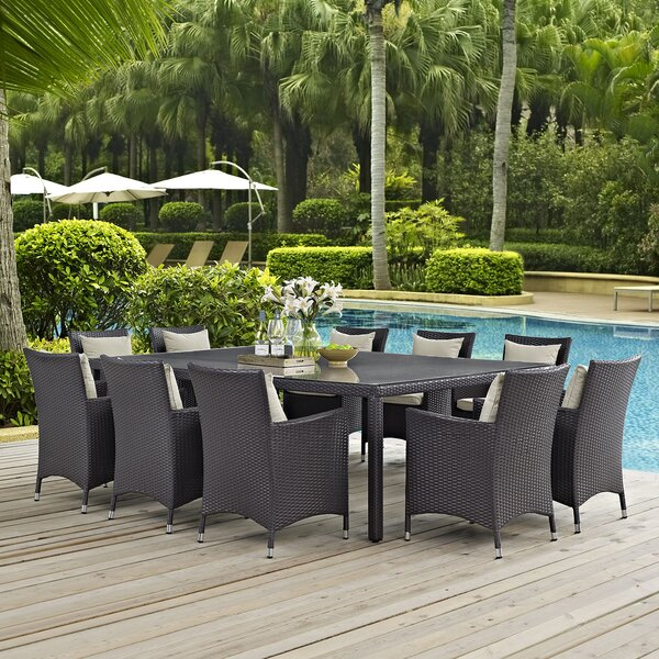 Brentwood 11 Piece Outdoor Patio Dining Set with Cushions by Sol 72 Outdoor