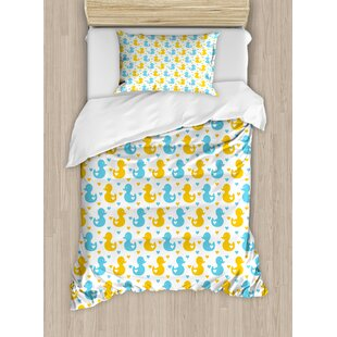 Rubber Duck Pattern with Little Hearts Love Animals Print Nursery Room Duvet Cover Set By Ambesonne