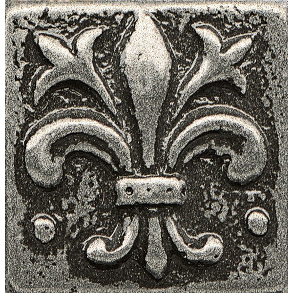 Ambiance Insert Flor De Lis 1 x 1 Resin Tile in Pewter by Bedrosians