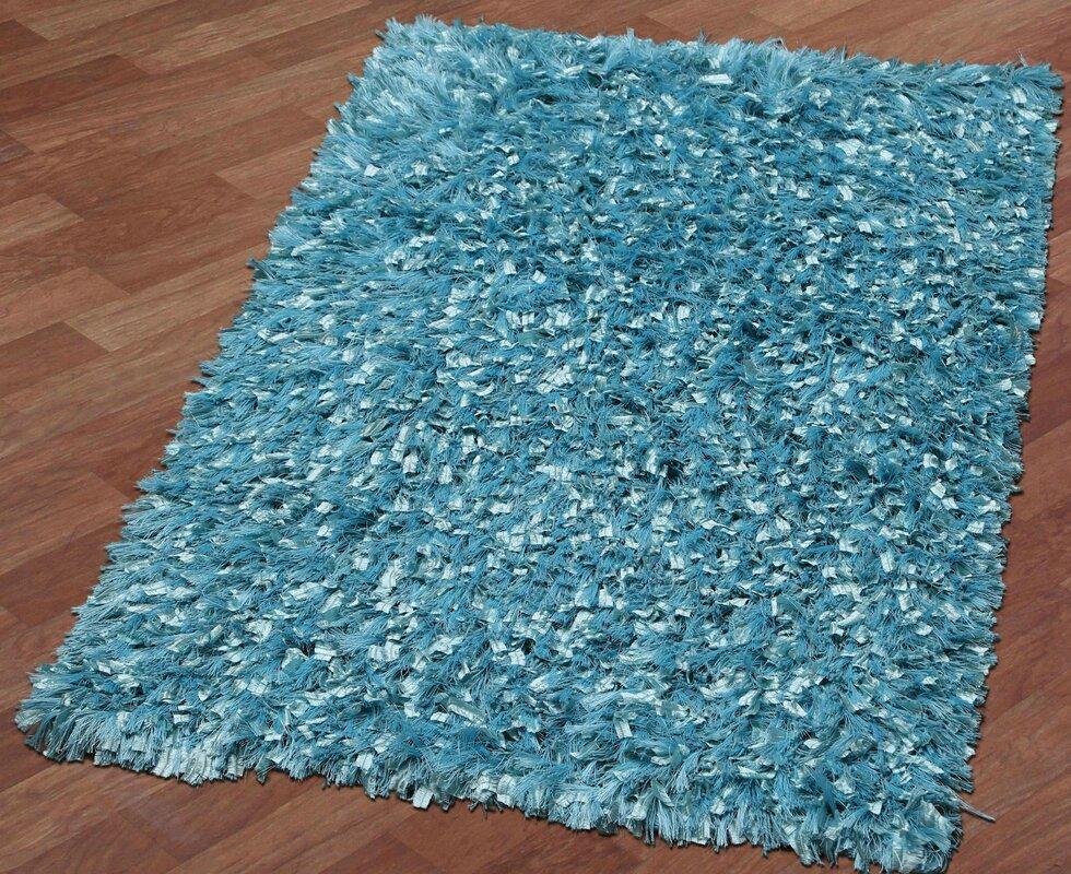 Shimmer Shag Hand Loomed Aqua Area Rug