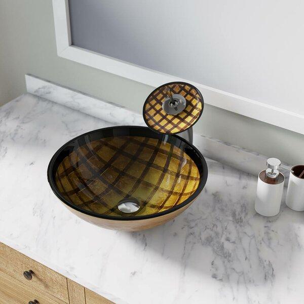 Foil Undertone Glass Circular Vessel Bathroom Sink