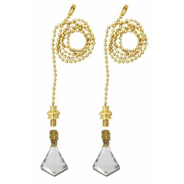 Fan Pull Chain with Gem Cut Diamond Crystal Finial (Set of 2) by Royal Designs