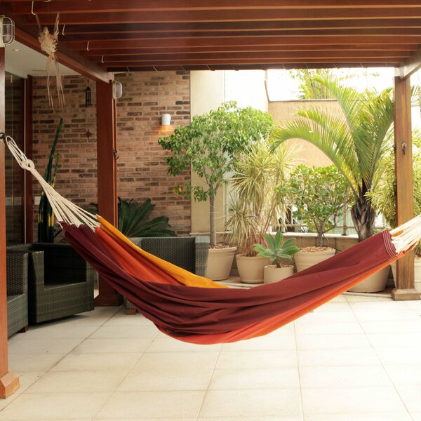 Double Person Fair Trade Sturdy Autumn Colored Hand-Woven Brazilian Cotton Indoor And Outdoor Hammock by Novica