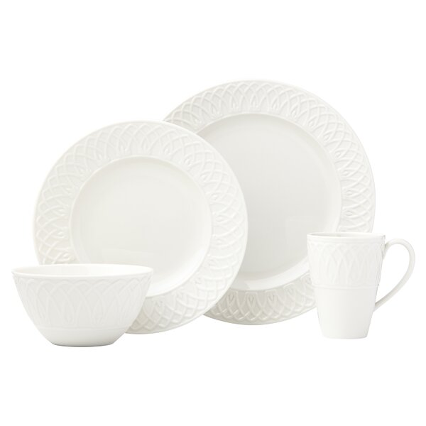 British Colonial Carved White 4 Piece Place Setting, Service for 1 by Lenox