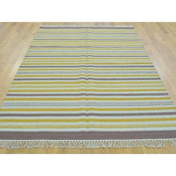 One-of-a-Kind Bessey Striped Reversible Handmade Kilim Wool Area Rug by Isabelline