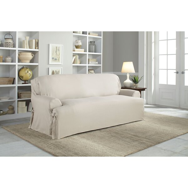 Cotton Duck T-Cushion Sofa Slipcover by Serta
