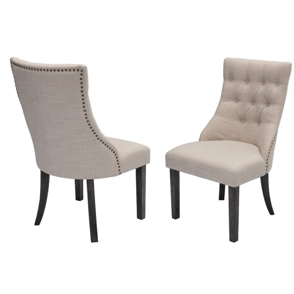 Rousseau Upholstered Dining Chair (Set of 2) by Canora Grey