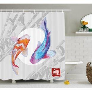 Best Reviews Couple Koi Fish Decor Shower Curtain ByEast Urban Home