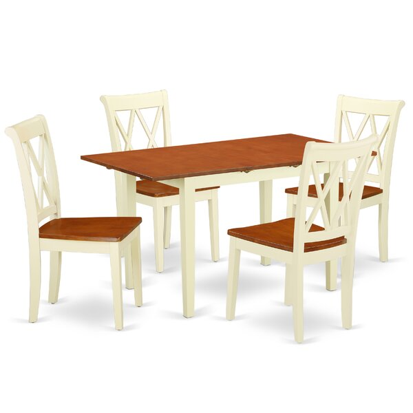 Kromer 5 Piece Extendable Solid Wood Breakfast Nook Dining Set by August Grove