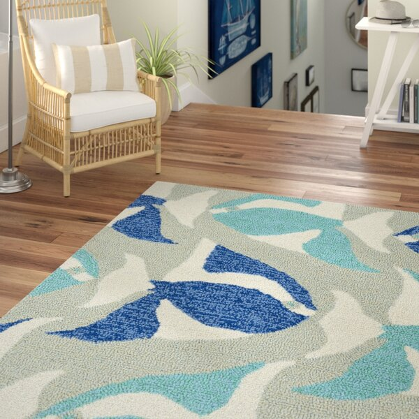 Sereno Traditional Handmade Rectangle Blue Indoor / Outdoor Area Rug by Beachcrest Home