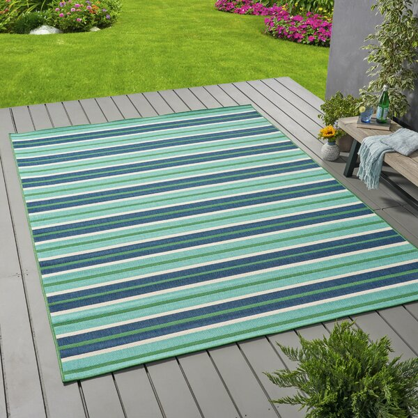 Gillum Striped Blue/Green Indoor/Outdoor Area Rug by Highland Dunes