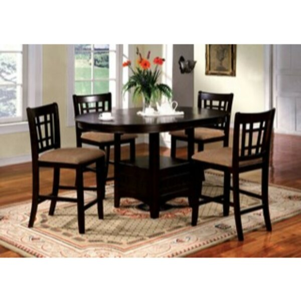 Woolley 5 Piece Counter Height Extendable Solid Wood Dining Set by Red Barrel Studio