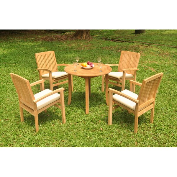 Rickey 5 Piece Teak Dining Set by Rosecliff Heights