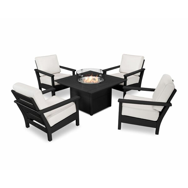 Harbour 5 Piece Sunbrella Multiple Chairs Seating Group with Cushions by POLYWOOD®