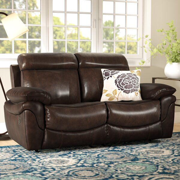 Champine Leather Reclining Loveseat by Andover Mills
