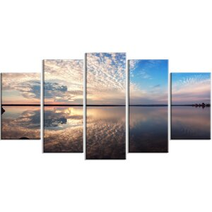 'Summer Clouds Reflecting in Lake' 5 Piece Wall Art on Wrapped Canvas Set by Design Art