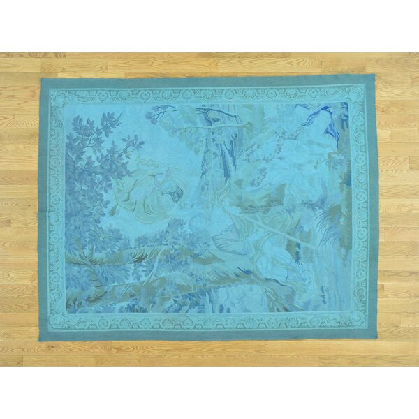 One-of-a-Kind Besser Hand-Woven Blue Wool Oriental Area Rug by Isabelline