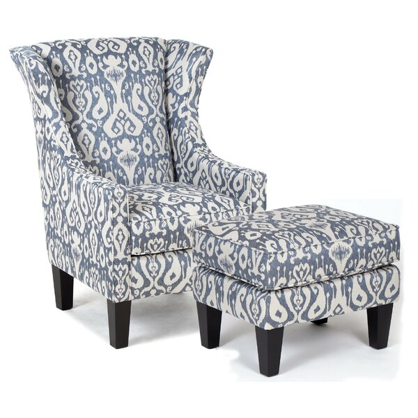 Berdy Accent Wingback Chair and Ottoman by Bloomsbury Market Bloomsbury Market