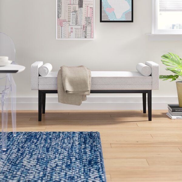 Schulenburg Upholstered End of Bed Bench in Natural White by Modern Rustic Interiors