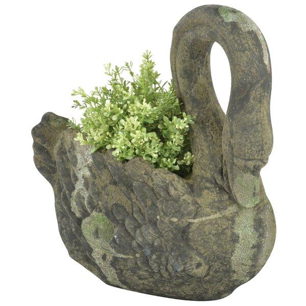 Aged Swan Ceramic Statue Planter by EsschertDesign