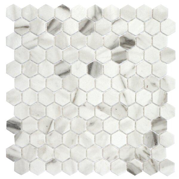 Onix 1 x 1 Glass Mosaic Tile in Calacatta Malla by Madrid Ceramics