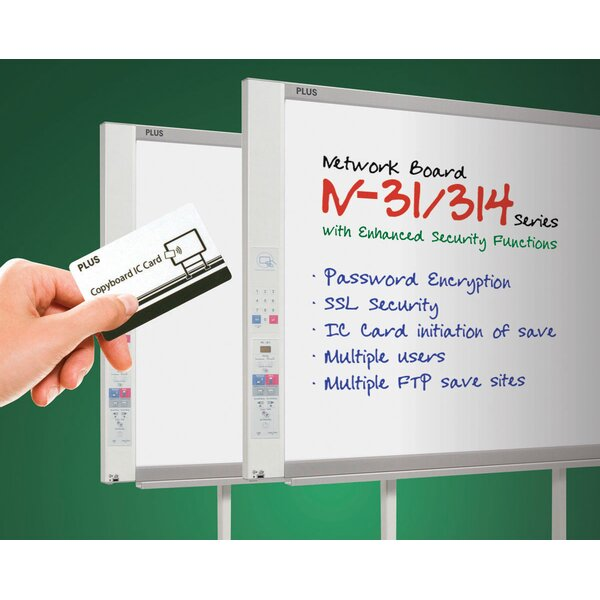 Standard Network Capable 4 Panel Electronic Wall Mounted Whiteboard, 39 x 58 by Plus Boards