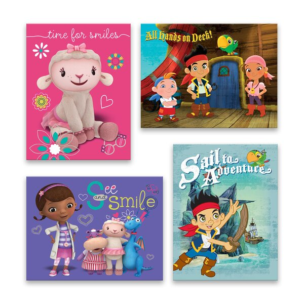 Doc Mcstuffin And Jake And The Never Land Pirates 4 Piece Graphic Art Print Set On Canvas In Pink Purple By Gallery Direct.