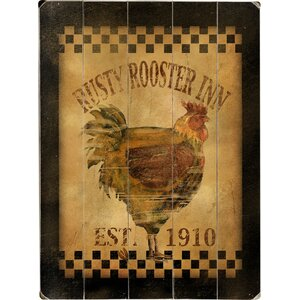 Rusty Rooster Inn Wall Art on Plaque by August Grove