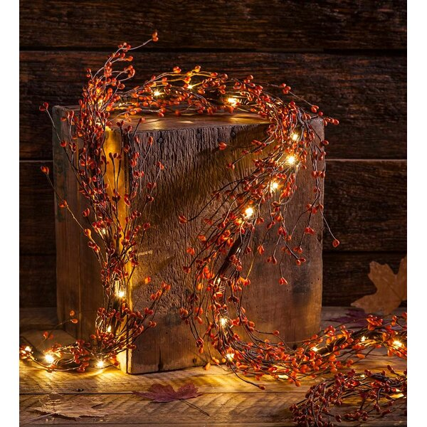 Lighted Autumn Berry Garland By Plow Hearth.