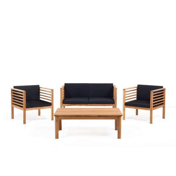 Tillman 4 Piece Sofa Seating Group with Cushions by Mercury Row