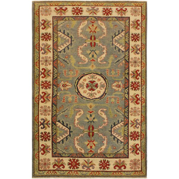 One-of-a-Kind Daphne Kazak Hand-Knotted Wool Light Blue/Ivory Area Rug by Astoria Grand