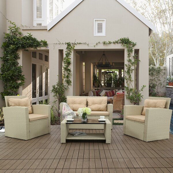 Lettie 4 Piece Rattan Sofa Seating Group with Cushions by Rosecliff Heights Rosecliff Heights