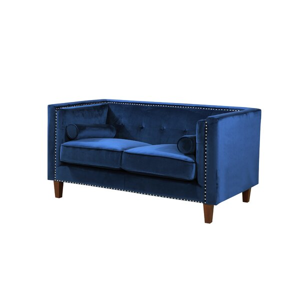 Kittleson Classic Nailhead Chesterfield Loveseat by Everly Quinn