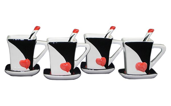Tressie Queen of Hearts Teacup and Saucer Set (Set of 4) by Latitude Run