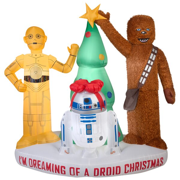 Airblown Mixed Media Droids and Chewbacca with Tree Scene Large Star Wars Inflatable by Gemmy Industries