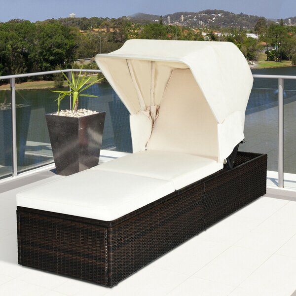 Abentego Reclining Chaise Lounge with Cushion