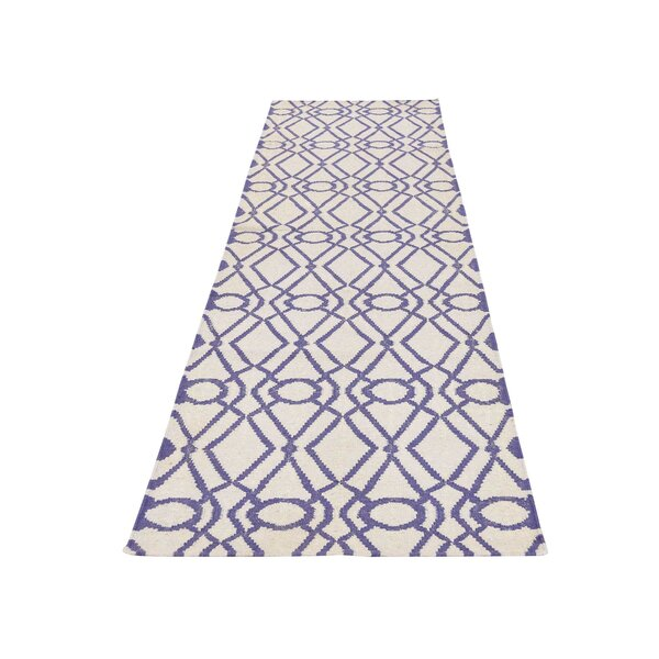 One-of-a-Kind Sherwick Flat Weave Reversible Kilim Hand-Knotted Ivory Area Rug by Breakwater Bay