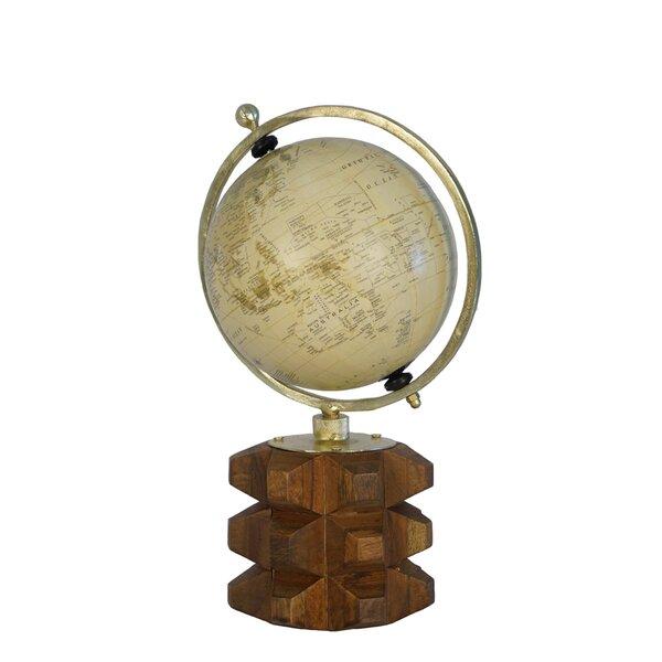 Elegant Globe on Carved Wood Base by Bloomsbury Market
