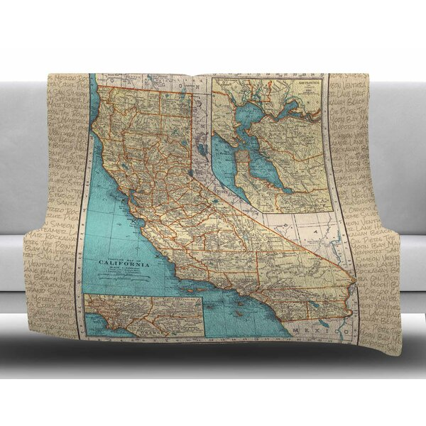 So Cal Surf Map by Catherine Holcombe Fleece Blanket by East Urban Home