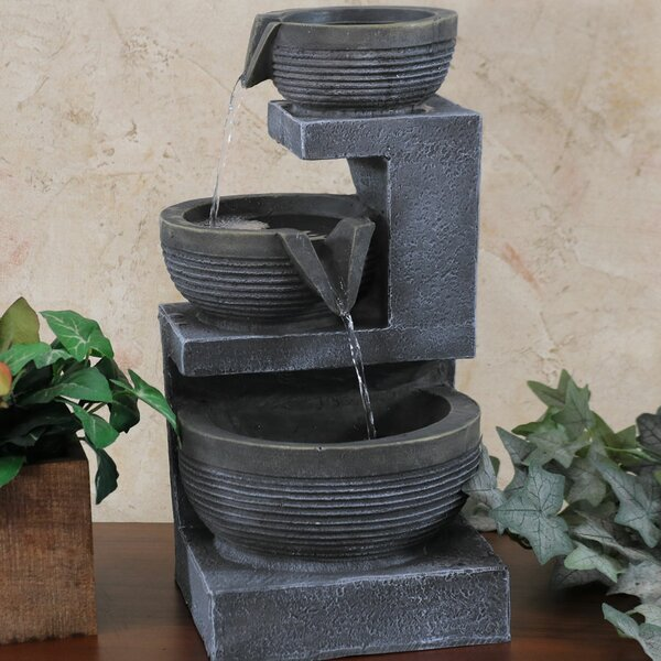 Resin 3-Tier Cascading Basins Tabletop Water Fountain with Light by Wildon Home ®