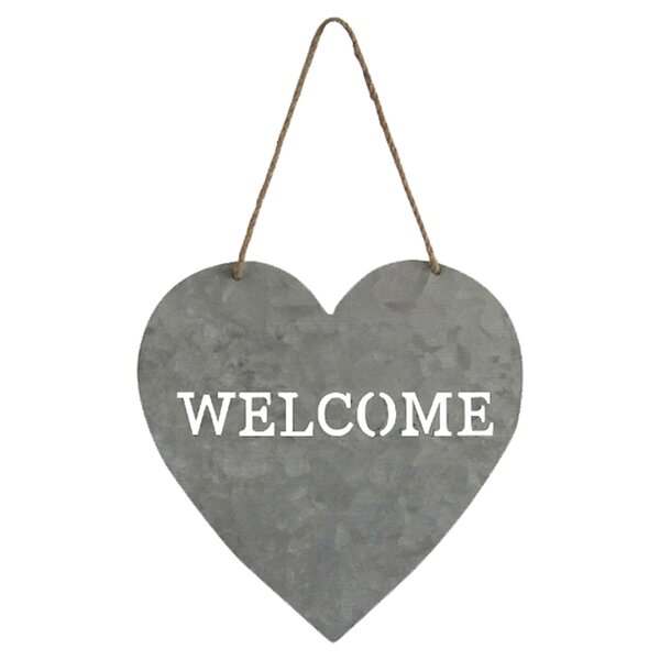 Heart Shaped Welcome Sign by August Grove
