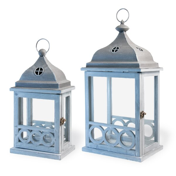Light In The Attic 2 Piece Wood Lantern Set by Highland Dunes