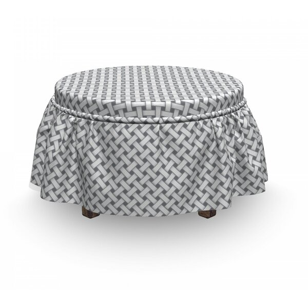 Interlacing Lines Realistic Ottoman Slipcover (Set Of 2) By East Urban Home