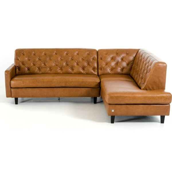Monroe Right Hand Facing Leather Sectional by 17 Stories