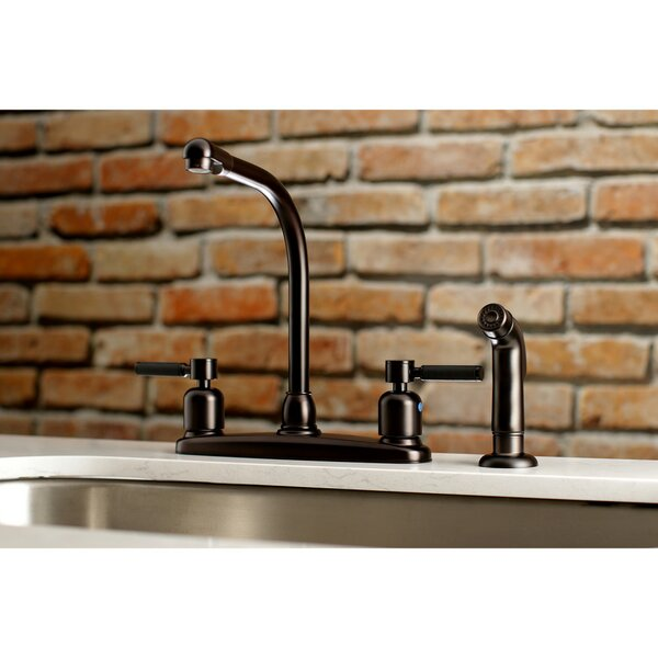 Kaiser Hot & Cold Water Dispenser Double Handle Kitchen Faucet with Side Spray by Kingston Brass